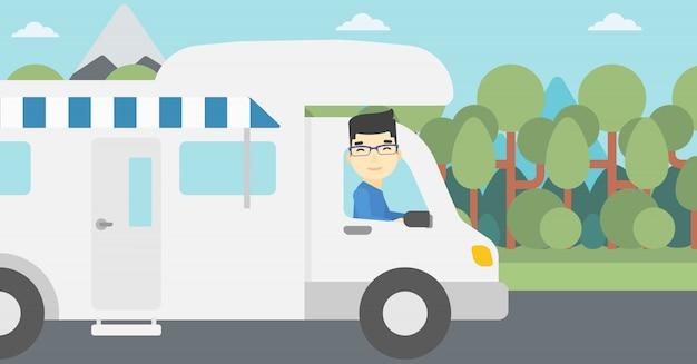 Homme au volant de l'illustration vectorielle camping-car.