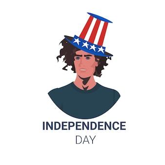 Homme aux états-unis chapeau de fête célébrant, carte de célébration de la fête de l'indépendance américaine 4 juillet