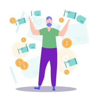Homme aux mains levées avec des billets de banque