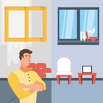 Homme avec avant et après la maison en construction