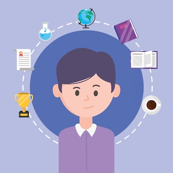 Homme d'avatar et apprendre en ligne