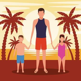 Homme avatar et enfants à la plage au coucher du soleil