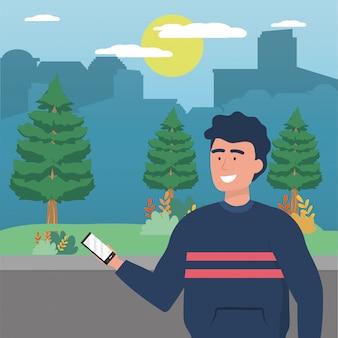 Homme avatar avec smartphone