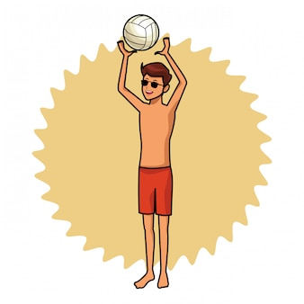 Homme avec balle voleyball