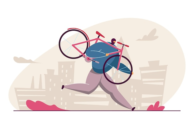 Homme de bande dessinée dans le masque volant le vélo. illustration vectorielle plane. voleur tenant un vélo rose, s'enfuyant, commettant un crime. vol de vélo, violation de la loi, concept criminel pour la conception de bannières ou la page de destination