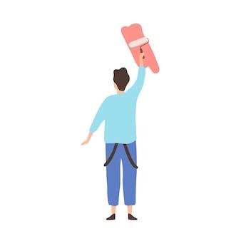 Homme de bande dessinée peignant sur le mur tenant le rouleau de peinture d'isolement sur le fond blanc. un peintre professionnel masculin représente une image colorée ou écrit une illustration vectorielle à plat de texte publicitaire.