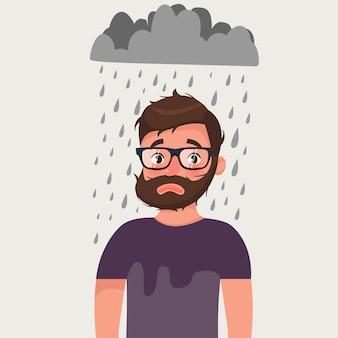 Homme barbe malchanceux avec mauvaise humeur sous la pluie