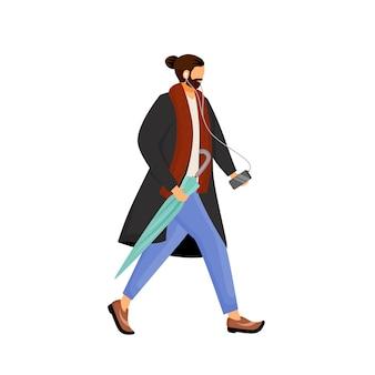 Homme à la barbe en manteau personnage sans visage couleur design plat