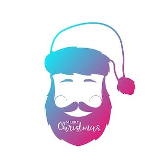 Homme avec barbe et moustache portant un chapeau de père noël