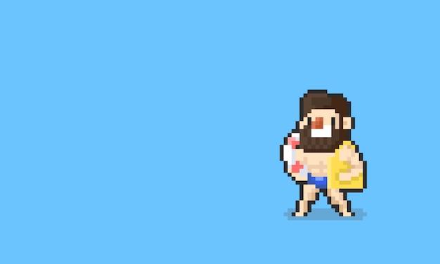 Homme de barbe pixel dessin animé avec accessoires de natation été. 8 bits.