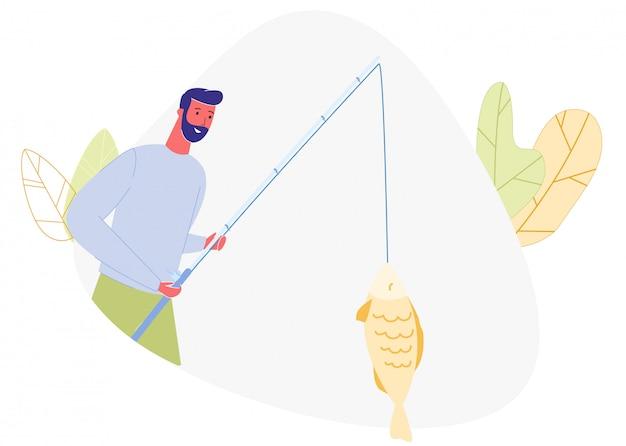 Homme barbu avec canne à pêche dans le poisson pêché à la main.