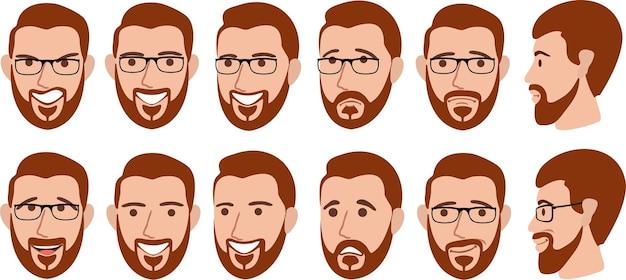 Homme barbu avec différentes expressions faciales définies.