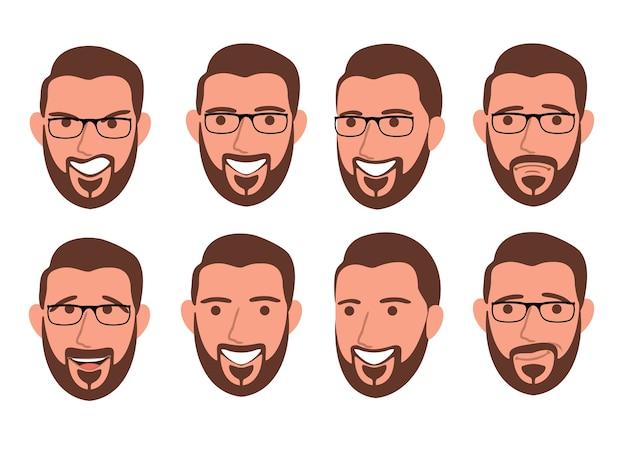Homme barbu avec différentes expressions faciales ensemble isolé ensemble de différentes émotions personnage masculin bel homme emoji avec diverses expressions faciales en style cartoon