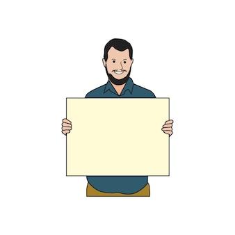Homme barbu illustré papier vierge holdin