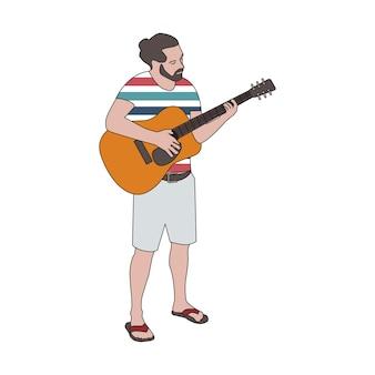 Homme barbu illuté jouant de la guitare