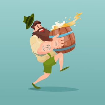 Homme barbu transportent bière baril plat vector illustration