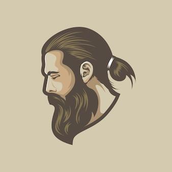 Homme barbu de vecteur
