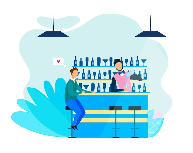 Homme barman parle d'amour romantique