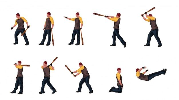 Homme avec batte basebal set 03