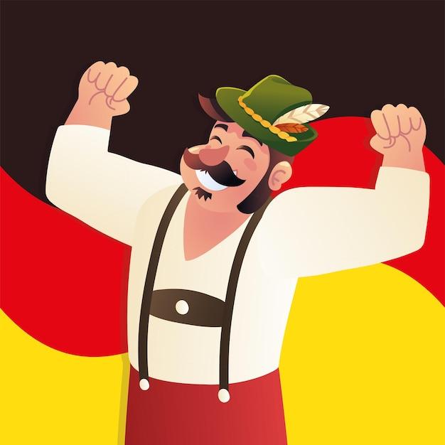 Homme bavarois avec drapeau de l'allemagne