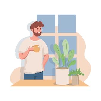 Homme bénéficiant d'une tasse de thé ou de café le matin chaud saluant une illustration plate de jour.