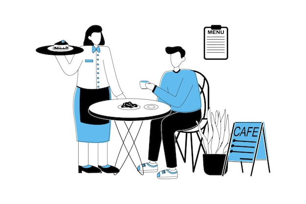 L'homme boit du café et mange au café