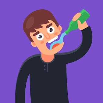 Homme boit de l'eau provenant d'une bouteille en verre. illustration de caractère.