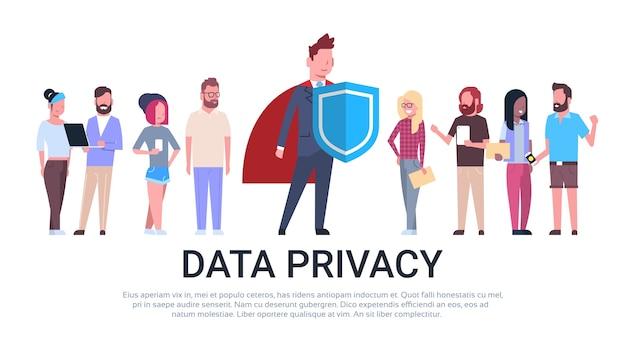 Homme bouclier mélange équipe de course gdpr confidentialité des données