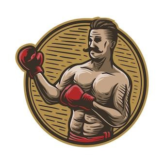 Homme de boxe dessiné main vintage
