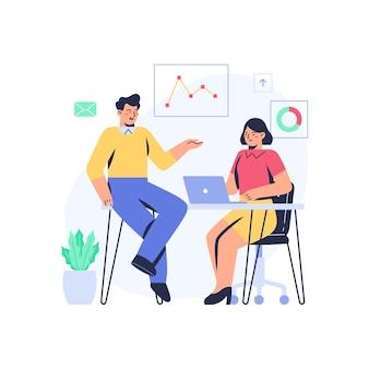Homme de bureau expliquant certaines données à une femme de bureau