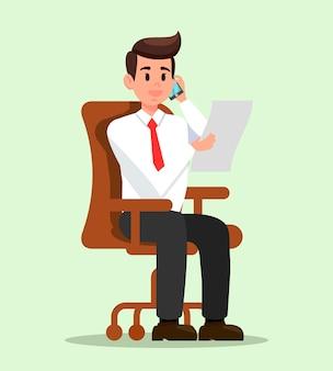 Homme bureau, parler téléphone, plat, illustration