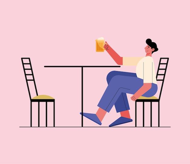 Homme buvant de la bière dans