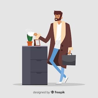 Homme buvant du café au backgorund