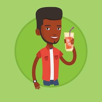 Homme buvant illustration vectorielle de cocktail.