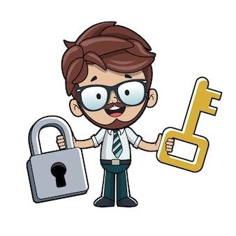 Homme avec cadenas et clé