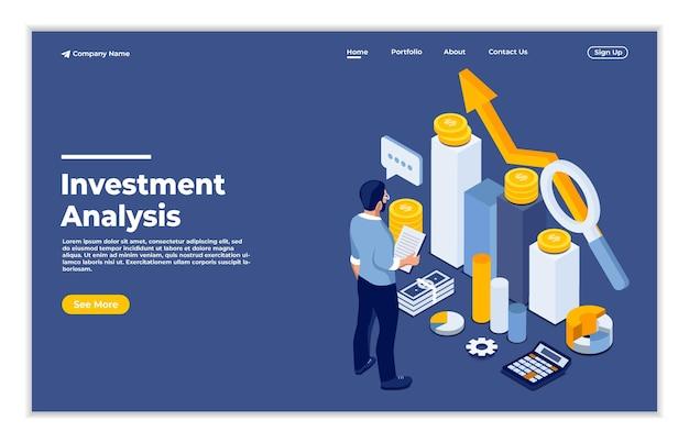 Un homme calculant le concept isométrique de croissance d'analyse d'investissement en ligne
