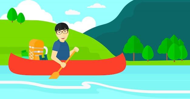 Homme en canoë sur la rivière.