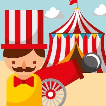 Homme canon et tente carnaval fun festival de la foire