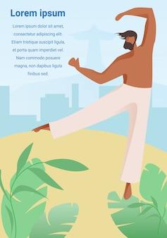 Homme capoeiriste sur fond de paysage urbain au brésil.