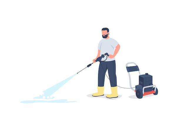 Homme avec caractère sans visage plat de pistolet de lavage de puissance. laver le trottoir. nettoyant professionnel.