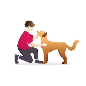 Homme caresser un chien