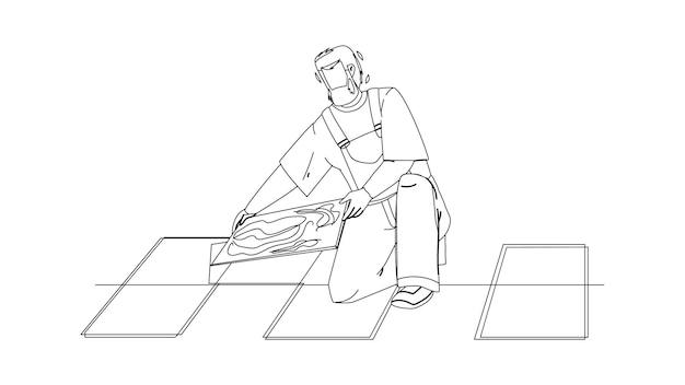 Homme carreleur installation de carreaux de sol en céramique vecteur de dessin au crayon ligne noire. carreleur réparateur entrepreneur travaux de rénovation de labour. personnage bricoleur installateur revêtement professionnel illustration travail