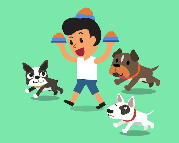Homme cartoon, alimentation, chiens