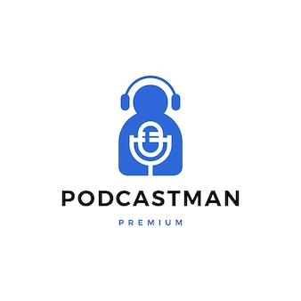 Homme, casque, podcast, chanter, icône, logo, illustration