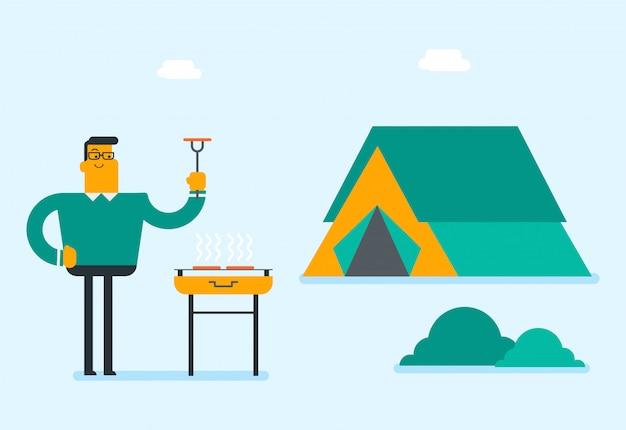 Homme caucasien, cuisson du steak sur le barbecue.