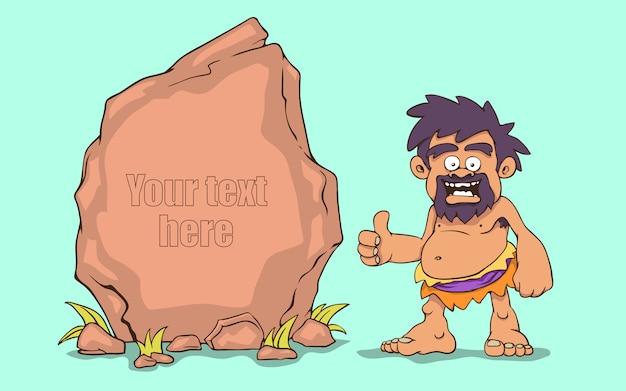 Homme des cavernes avec une bannière en pierre