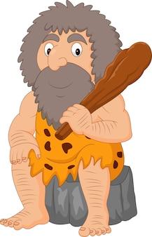 Homme des cavernes de dessin animé tenant le club
