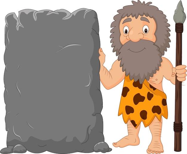 Homme des cavernes dessin animé tenant une pancarte en pierre