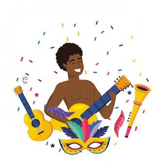 Homme, célébrer, brésil, carnaval, illustration vectorielle