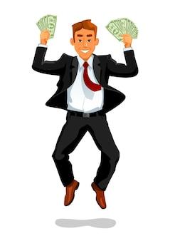Homme chanceux avec de l'argent sauter et rire illustration